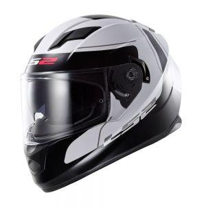 LS2 FF320 Stream Lunar Full Face Motorcycle Helmet Black/White - XS