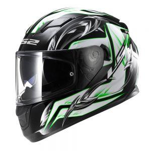 LS2 FF320 Stream Steel Full Face Motorcycle Helmet White Green Black - M
