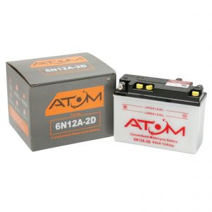 6N12A-2D - Atom Wet-Cell Motorcycle Battery 6V 10Ah