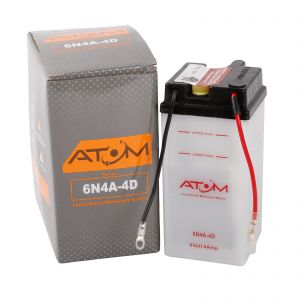6N4A-4D - Atom Wet-Cell Motorcycle Battery 6V 4Ah
