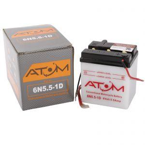 6N5.5-1D - Atom Wet-Cell Motorcycle Battery 6V 5.5Ah