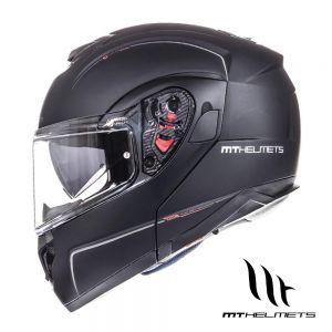 MT Atom SV Flip Up Motorcycle Helmet - Matt Black - M (Medium)