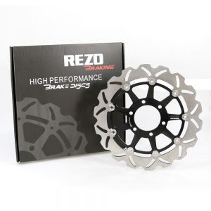 Rezo Black Wavy Floating Stainless Steel Front Brake Disc for Triumph Motorbikes