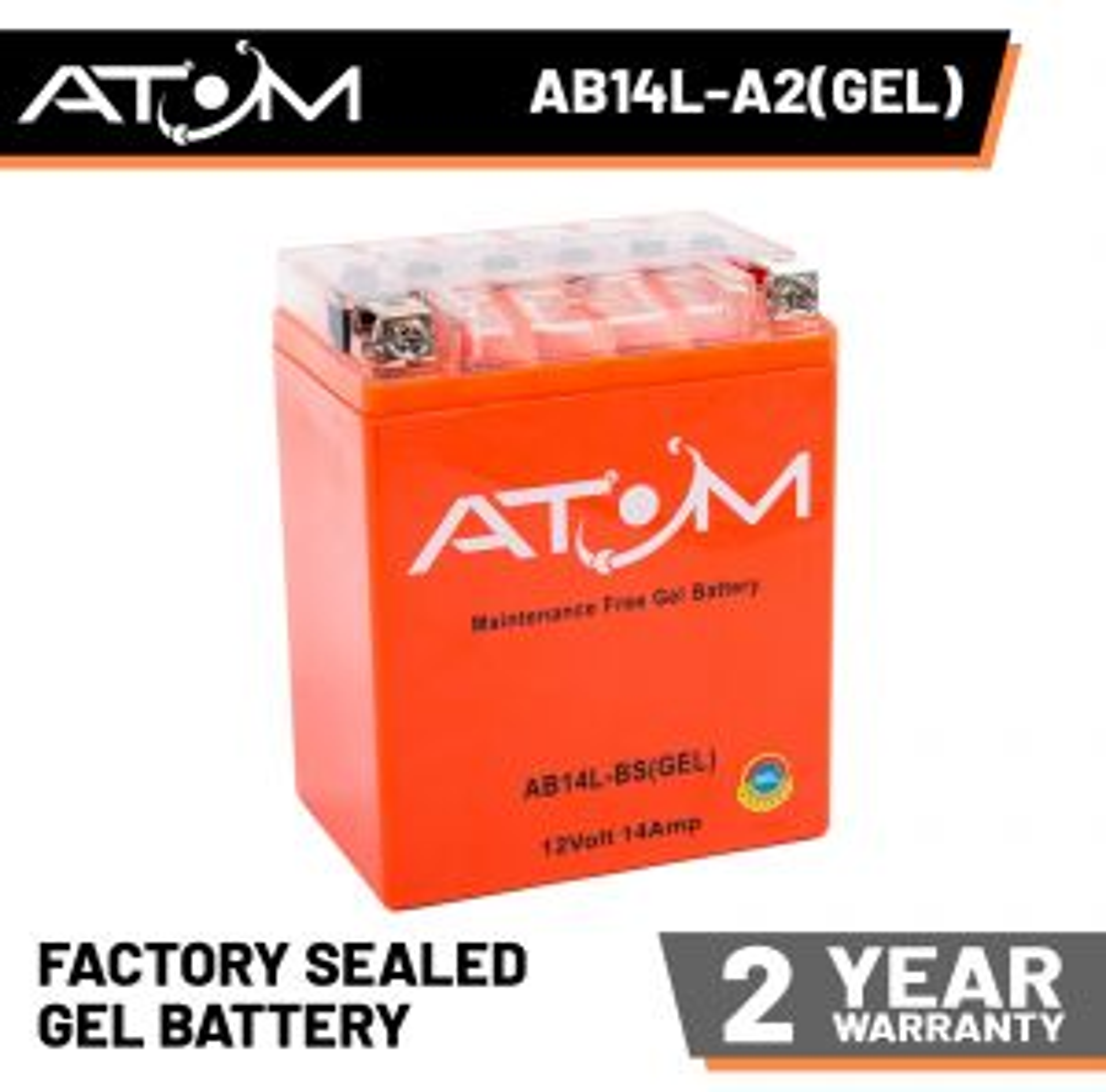 YB14L-A2 - Atom Gel Motorcycle Battery 12V 14Ah