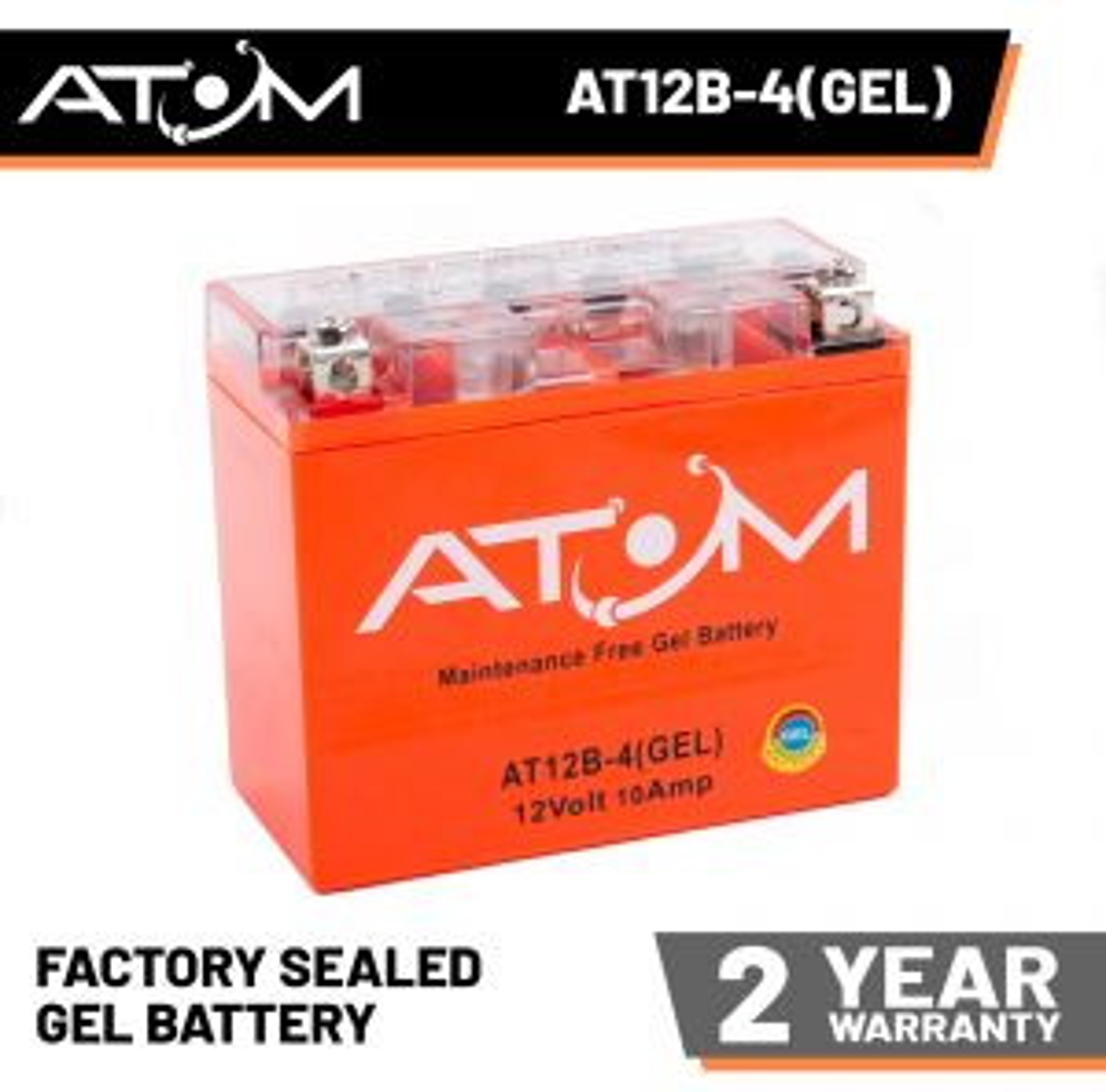 YB12B-BS - Atom Gel Motorcycle Battery 12V 10Ah