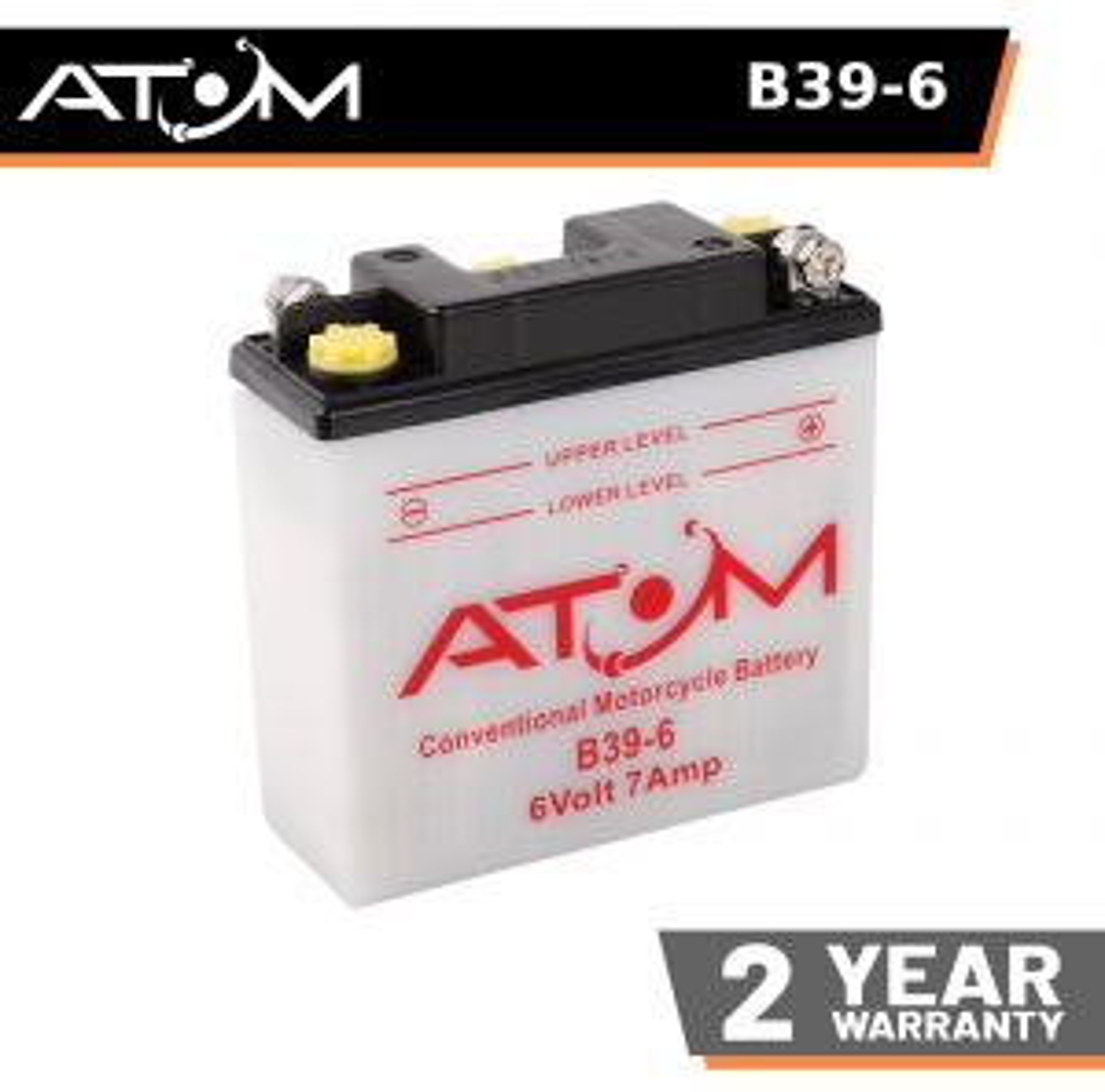 B39-6 - Atom Wet-Cell Motorcycle Battery 6V 7Ah