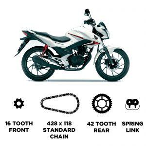 D.I.D Chain & JT Carbon Steel Sprocket Kit - Honda CBF 125 2009-2015