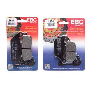 EBC Complete Front Rear Organic Brake Pad Kit Kawasaki Z650 17-19 FA142 FA174