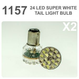 Replacement 380/1157 24 White LED Tail, Brake, Interior Light Bulb x2