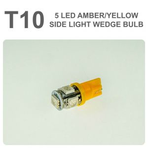 Replacement 501/T10 5 Yellow LED Error Free Canbus Sidelight Bulb