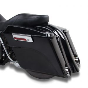 Black Extended Stretched Panniers - Harley-Davidson Touring Models 00-13