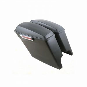 """Matte Black 5"""" Extended Stretched Panniers Luggage Harley Davidson Touring 14-18"""