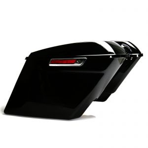 """Gloss Black 5"""" Extended Stretched Panniers Luggage Harley Davidson Touring 14-18"""