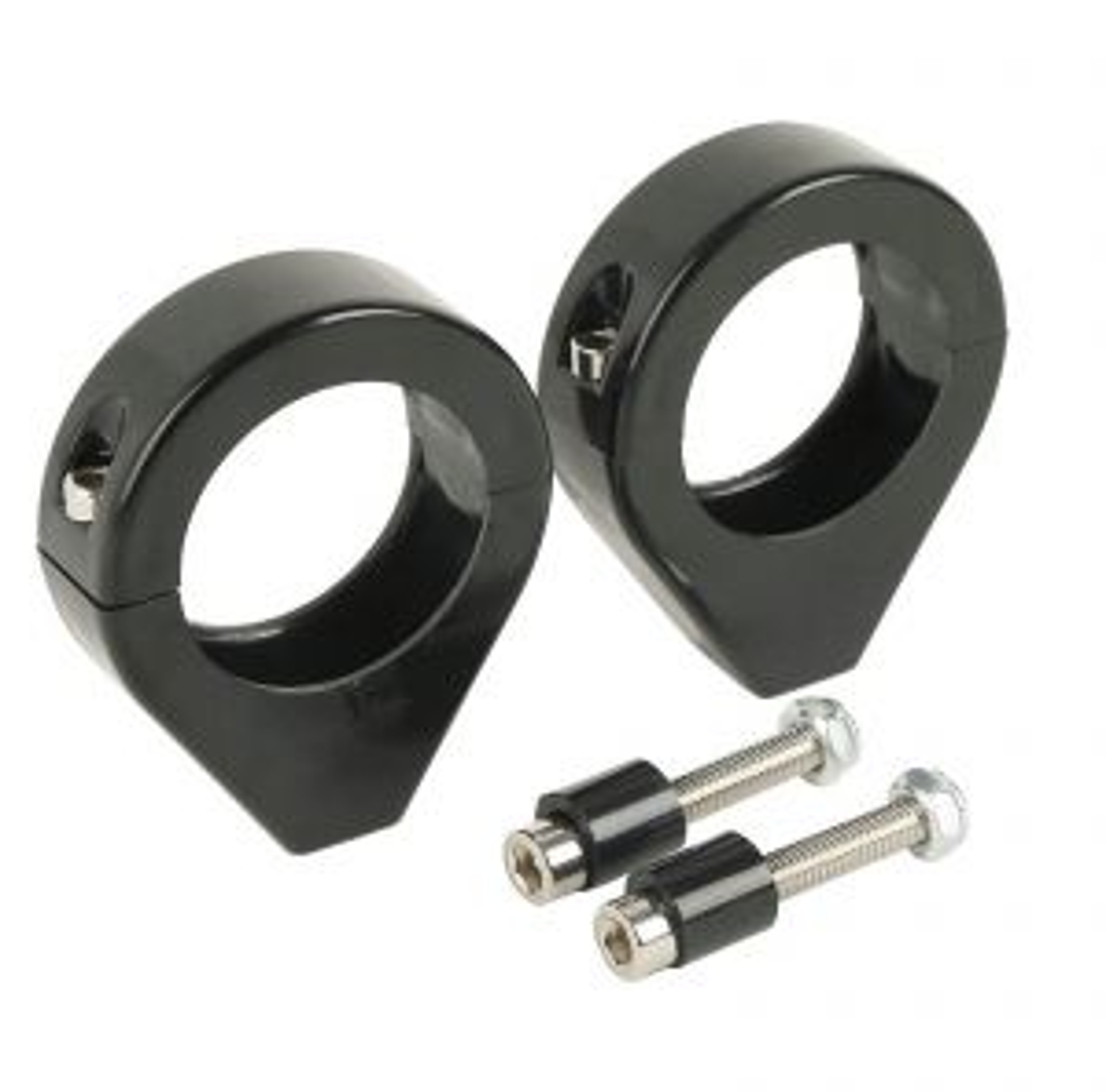 Black 39mm Fork Clamp Indicator Turn Signal Relocation Clamp - Harley Davidson