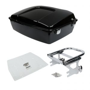 Chopped Tour Pak Top Box, Base Plate & Two-up Rack - Harley Touring 97-08