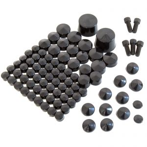 Black Nut & Bolt Cap Toppers Cover Kit - Harley Davidson Softail Twin Cam 07-13
