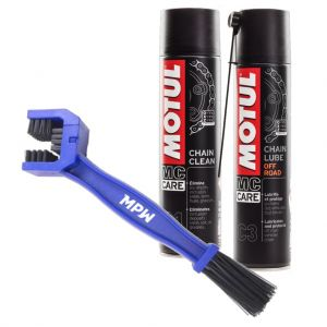Motul Off Road Chain Care Kit - Cleaner, Lube and MPW Brush