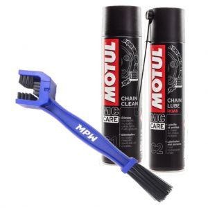 Motul Road Chain Care Kit - Cleaner, Lube and MPW Brush
