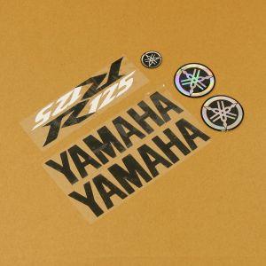 Black/Black/White 7 Piece Sticker Set Yamaha - YZF-R125 08-17