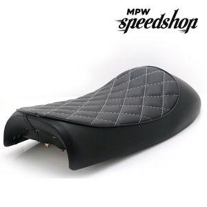 Universal Diamond Hump Cafe Racer Vintage Scrambler Seat Honda CB - Black
