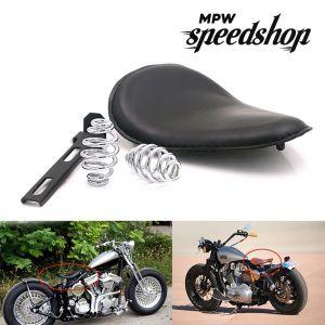 Black Solo Slim Leather Seat & Springs - Custom Harley Bobber chopper