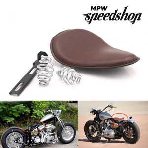 Brown Solo Slim Leather Seat & Springs Custom Harley Bobber chopper