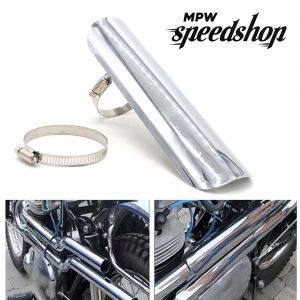 Universal Cafe Racer Exhaust Muffler Heat Shield Cover 225mm - Chrome