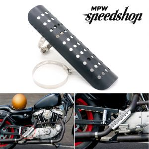 Universal Cafe Racer Exhaust Muffler Heat Shield Cover 230mm - Black