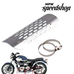 Universal Cafe Racer Exhaust Muffler Heat Shield Cover 180mm - Chrome