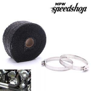 10m Black Lava Motorcycle Exhaust Header Pipe Heat Shield Wrap