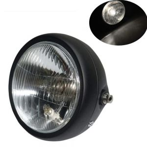 Universal Cafe Racer Headlight 5.75 Inch Black Case with Clear Lens