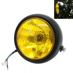 Universal Cafe Racer Headlight 5.75 Inch Black Case with Yellow Lens
