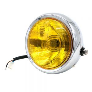 Universal Cafe Racer Headlight 5.75 Inch Chrome Case With Yellow Lens