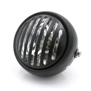 Universal Cafe Racer Headlight 5.75 Inch Black|Clear with Prison Grill
