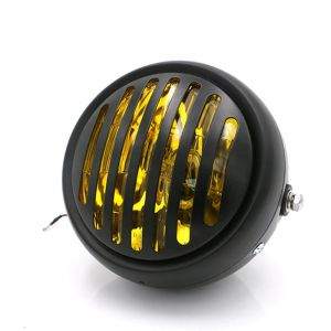 Universal Cafe Racer Headlight 5.75 Inch Black|Yellow with Prison Grill