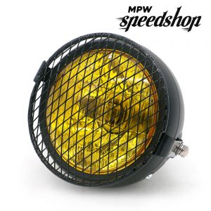 Universal Cafe Racer Headlight 5.75 Inch Black Yellow with Diamond Grill