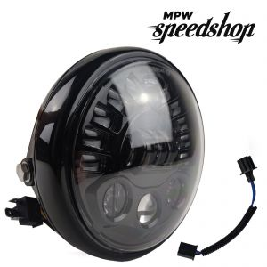 Universal Harley Davidson LED Headlight 7 Inch Black Case with Clear Lens - 55W