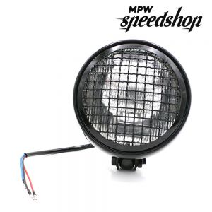 Universal Cafe Racer Headlight & Grill 5.75 Inch Black Case with Clear Lens