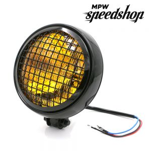 Universal Cafe Racer Headlight & Grill 5.75 Inch Black Case with Yellow Lens