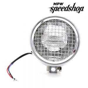 Universal Cafe Racer Headlight & Grill 5.75 Inch Chrome Case with Clear Lens