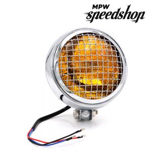 Universal Cafe Racer Headlight & Grill 5.75 Inch Chrome Case With Yellow Lens