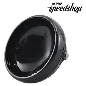 Universal Replacement 7 Inch Headlight Bowl Shell Case - Gloss Black