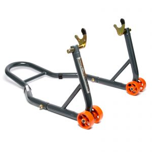 MPW Race Dept - Rear Paddock Stand with V-Adapters in Grey/Orange