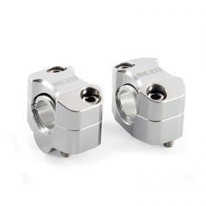 REZO Aluminium 22mm-28.6mm Handlebar Risers - Silver