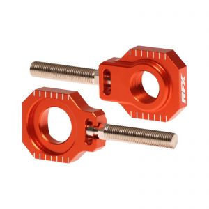 RFX Pro Series Rear Axle Adjuster Blocks in Orange - KTM SX and EXC