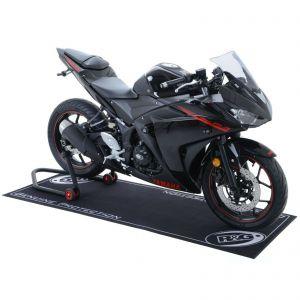 R&G Non-slip 200x75cm Motorcycle Garage Workshop Mat - Black/White