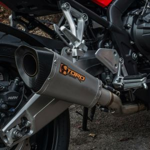 Toro 51mm Universal Twin Exhaust Silencer - Stainless/Carbon HexCone