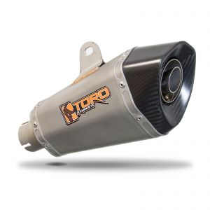 Toro 51mm Left-Hand Slip-on Hex Cone Stainless/Carbon Fibre Motorcycle Exhaust