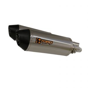 Toro 300mm Oval Stainless/Carbon Twin Exhaust - Triumph Street Triple 675 07-12