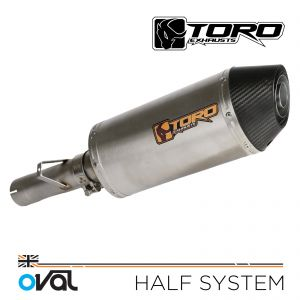 701 Enduro/SM 16-19 - Toro Exhaust Link Pipe, w/ 250mm Stainless Oval Silencer